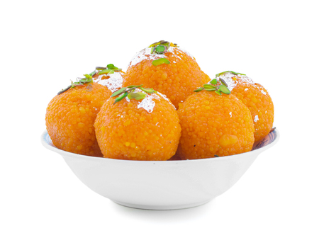 Indian Sweet Motichoor laddoo Also Know as Bundi Laddu or Motichur Laddoo Are Made of Very Small Gram Flour Balls or Boondis Which Are Deep Fried Stok Fotoğraf