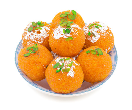 Indian Sweet Motichoor laddoo Also Know as Bundi Laddu or Motichur Laddoo Are Made of Very Small Gram Flour Balls or Boondis Which Are Deep Fried Stock fotó