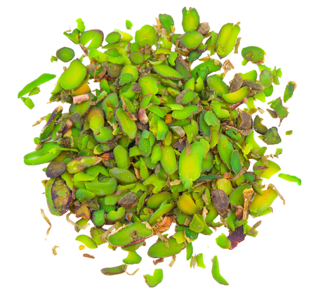 Heap of Fresh Unsalted Green Pista or Pistachio Chips Isolated on White Background 版權商用圖片