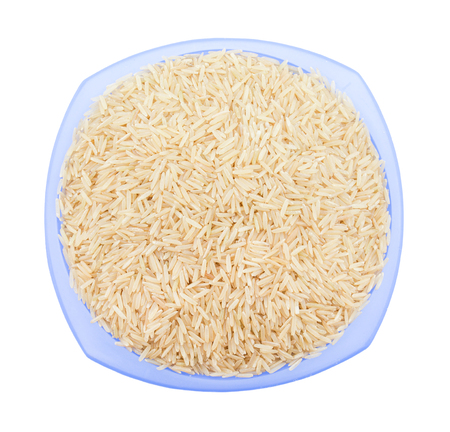 Healthy Brown Rice Isolated on White Background
