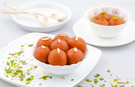 Indian Traditional Special Sweet Food Gulab Jamun Stock Photo