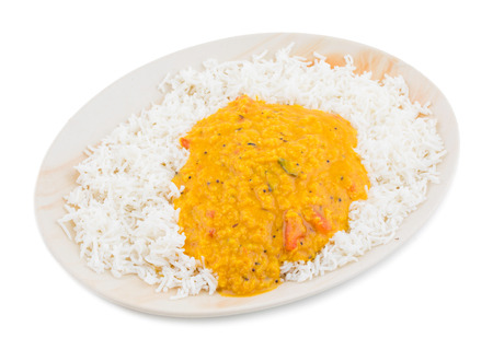 Indian Traditional Cuisine Dal Fry or Rice Also Know as Dal Chawal, Daal Chawal, Dal Rice, Whole Yellow Lentil with Rice or Dal Tadka, Daal Fry Served with Rice isolated on White Background