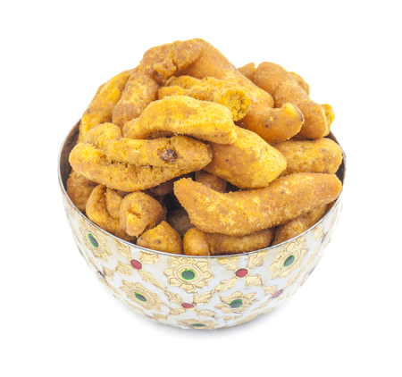 Ganthiya Also know as Gathiya, Ghatiya are deep fried Indian snacks made from chickpea flour. They are a popular teatime snack in Gujarat. They are soft and not crunchy like most other Indian snacks 写真素材
