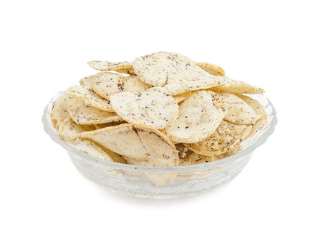 Indian Spicy Potato Chips Also know as Aloo Papri, Aloo Papdi, Alu Papdi, Wafer and Aloo Chips isolated on White Background