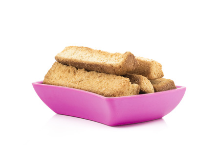 Indian Bakery Food Tea Time Sweet Dry Toast Snack Also Know As Indian Toast Snack, Toasted, Bread, Long Toast, Mawa Toast isolated on White Background Stok Fotoğraf
