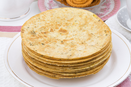 Indian Khakhra is a Traditional Gujarati Snack Also Know As Khakra, Crispy Roti or Fenugreek khakra, Khakhara's are thin crackers made from wheat flour and oil. It is served usually during breakfast