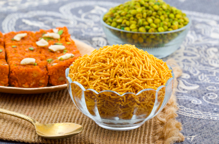Indian Traditional Namkeen Food Bikaneri Sev Also Called Namkin, Nimco or Nimko