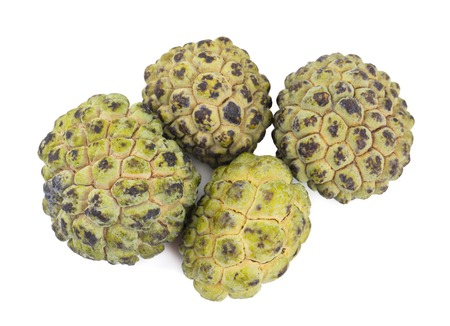 Heap of Sweet And Healthy Fruit Custard Apple Also Know as Sitafal, Sweetsop, Annona Squamosa, Sugar Apple, Sitaphal or Anona isolated on White Background