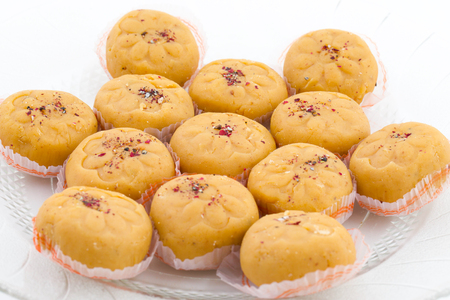 Indian Most Popular Sweet Food Variety of Peda Also Called Pedha, Peday or Pera Made By Milk, Khoya, Saffron or Other Flavours. It's a Popular Festival Food From India Stock Photo