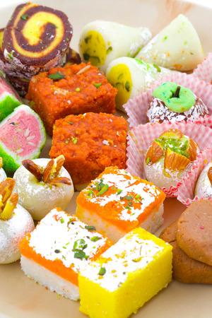 Indian Traditional Mix Sweet Food or Mix Mithai include Peda, Mawa Burfi, Dry Fruits Sweet, Halwa or Coconut Burfi Stock fotó