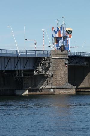 Open bridge over Limfjord in Aalborg, Denmark Banque d'images