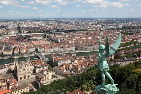 View of Lyon from the basilica of Fourviere, France Banque d'images