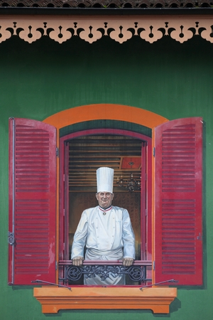 culinary tourism: Facade of Paul Bocuse restaurant in Lyon, France Editorial