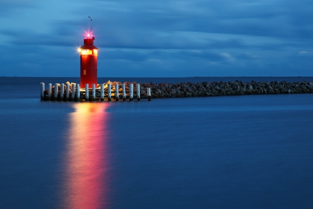 Hou lighthouse at the blue hour in Denmark Stock Photo