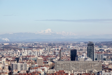blanc: View of Lyon from Fourviere with Mont Blanc