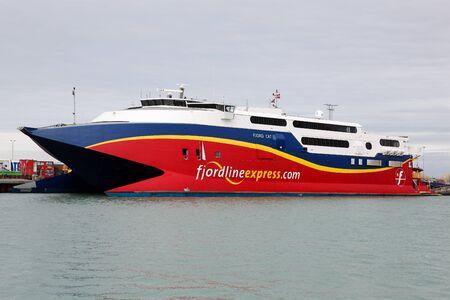 seabus: Fjord line ferry at Hirtshals harbor in Denmark