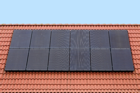 solar panels: Solar panels on a roof