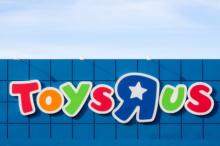 about us: Aarhus, Denmark - June 21, 2015: Logo of the brand Toys r us.  Toys r us is an American toy and juvenile products retailer.