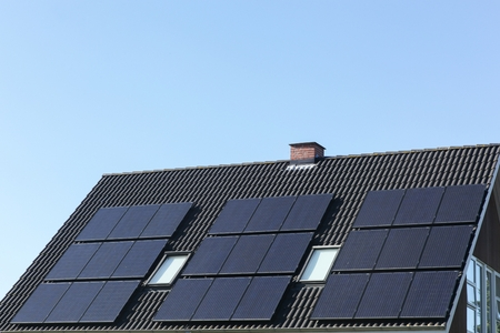solar roof: Solar panels on a roof