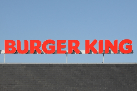 Wasserbillig, Luxembourg - April 20, 2015: Logo of the fast food chain Burger King. Burger King is a global chain of hamburger fast food restaurants