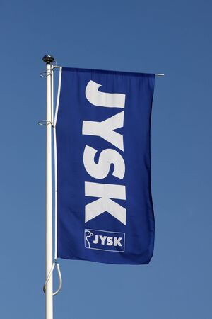 retail chain: Aarhus, Denmark - May 1, 2015: Jysk store sign. Jysk store is a danish retail chain, selling bedding, furniture and decoration Editorial