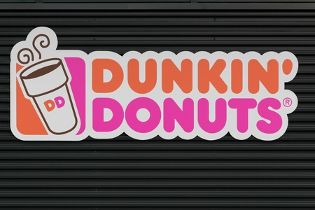 Wasserbillig, Luxembourg- March 24, 2015: Dunkin' Donuts sign. Dunkin' Donuts is an American global doughnut company and coffeehouse chain
