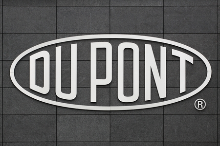 Aarhus, Denmark- May 1, 2015: Logo of the brand Du Pont. DuPont is one of Americas most innovative companies and it is an American chemical company that was founded in July 1802 as a gunpowder mill. Editorial
