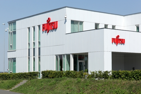 Aarhus, Denmark - August 22, 2015: Fujitsu office in Aarhus. Fujitsu is a Japanese multinational information technology equipment and services company headquartered in Tokyo, Japan Publikacyjne