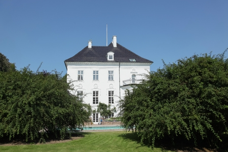 Aarhus, Denmark - August 20, 2015: Marselisborg Palace is a royal residence of the Danish Royal family in Aarhus. It has been the summer residence of Queen Margrethe II since 1967.
