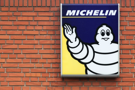 Horsens, Denmark - September 3, 2015: Michelin is a tire manufacturer based in Clermont-Ferrand in France and it is one of the three largest tire manufacturers in the world.
