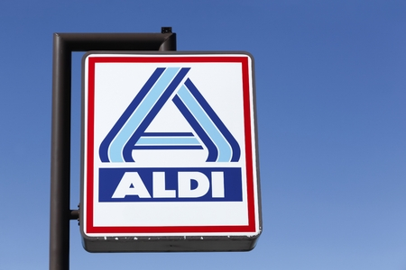 discounting: Frederikshavn, Denmark - September 7, 2015: Aldi logo. Aldi is a leading global discount supermarket chain with over 9 000 stores in 18 countries