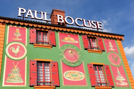 france: Lyon, France - September 25, 2015: Facade of the restaurant Paul Bocuse. Paul Bocuse, 3 stars at the Michelin guide, is a french chef based in Lyon who is famous for the high quality of his restaurant