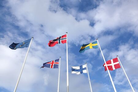 Nordic flags in the sky