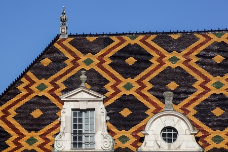polychrome: Polychrome roof of the Hospices de Beaune in Burgundy, France