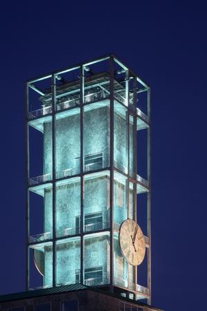 blue hour: Clock of Aarhus city hall at he blue hour in Denmark Stock Photo