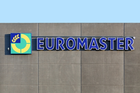 distributor: Horsens, Denmark - November 25, 2015: Euromaster is a tire distributor born in France in 1994 and the company operates throughout Europe with 1700 sale points