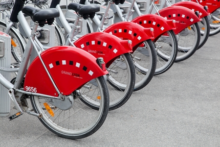 velo: Lyon, France - September 22, 2015:  Velov is a bicycle sharing system run by the city of Lyon, France