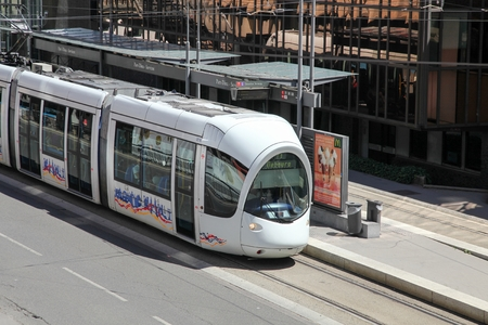 france station: Lyon, France - July 28, 2015: Tramway at Part Dieu station in Lyon, France