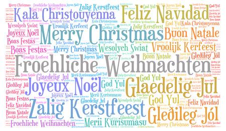 Frohe Weihnachten Und Ein Glückliches Neues Jahr In Allen Sprachen.Frohes Neues Jahr Grüße In Verschiedenen Sprachen Lizenzfreie Fotos