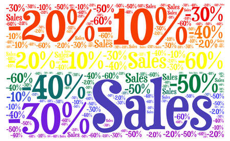 percentages: Sales discount and percentages colored background illustration Stock Photo