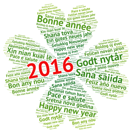 Happy New Year 2016 in different languages