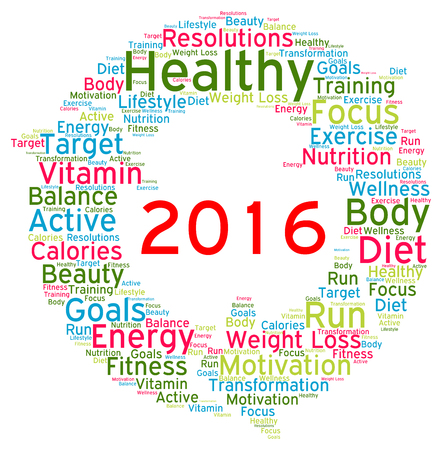 word cloud: Resolutions 2016 health word cloud