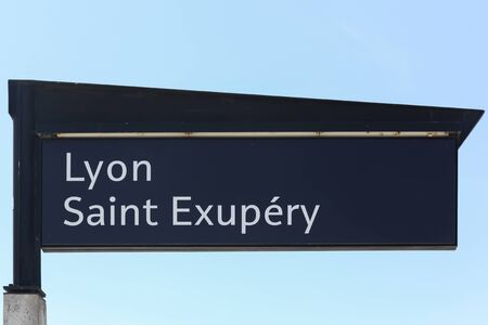 france station: Lyon Saint Exupery airport and railway station panel in Lyon, France Editorial