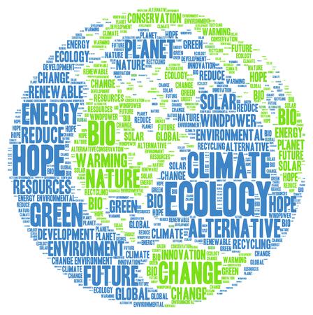 Ecología palabra climático nube Foto de archivo - 50983373