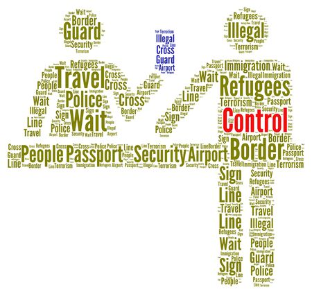 immigration: Immigration control concept word cloud illustration Stock Photo