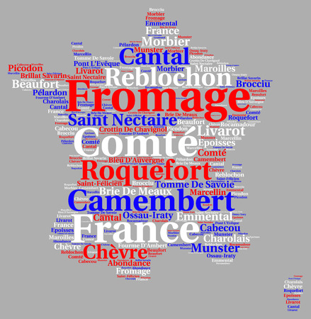 specialities: Variety of french cheeses word cloud illustration