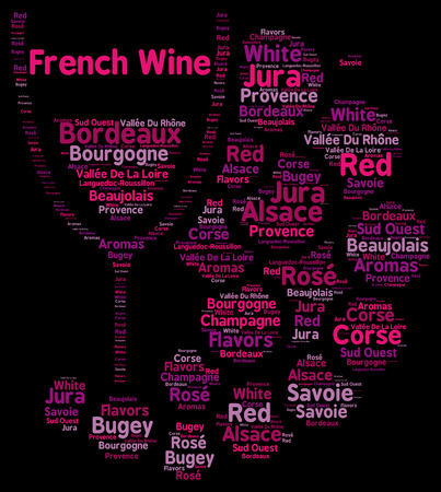 word cloud: French wines word cloud concept