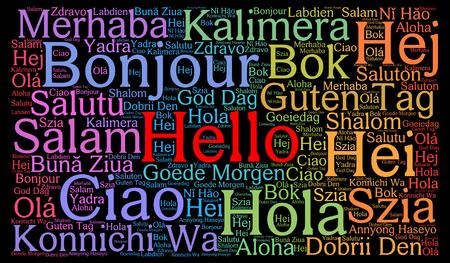 Ciao in diverse lingue parola nuvola Archivio Fotografico