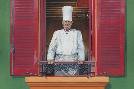 Lyon, France - January 27, 2016: Facade of the restaurant Paul Bocuse with his portrait. Paul Bocuse, 3 stars at the Michelin guide, is a famous french chef in the world and based in Lyon, France Editorial