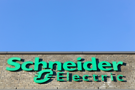 Aarhus, Denmark - January 17, 2016: Schneider Electric logo on a facade. Schneider Electric is a European multinational corporation, leader in automation and electricity management
